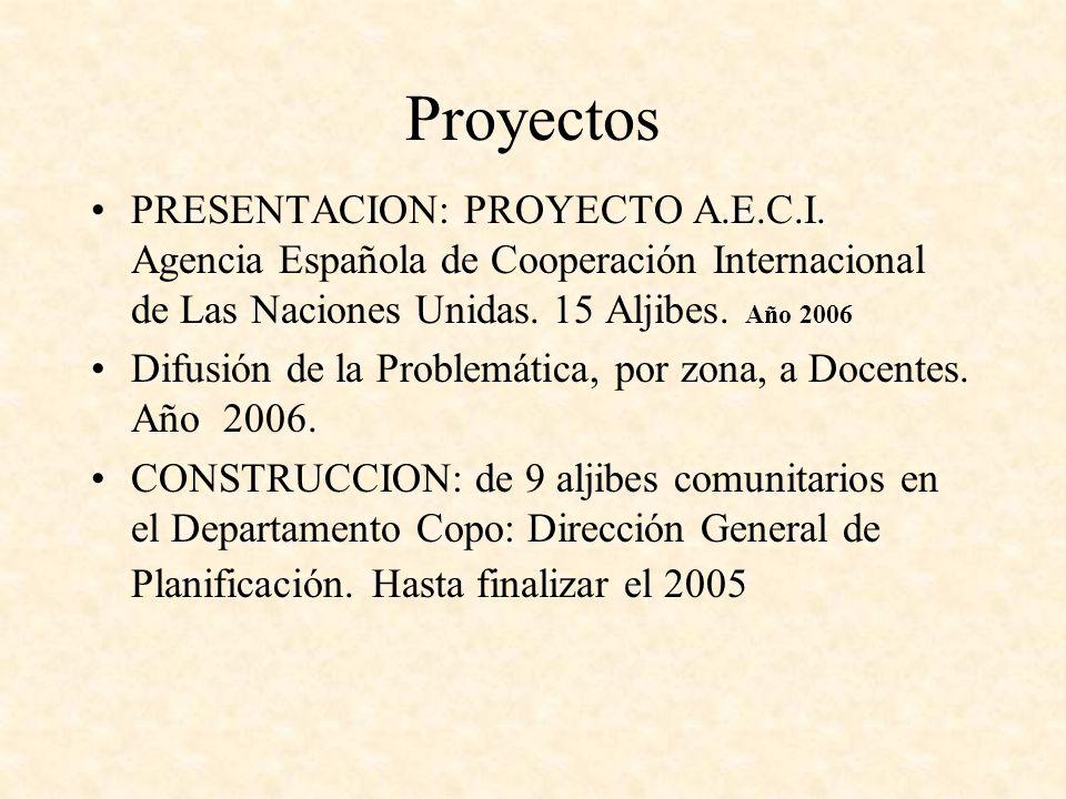 Proyectos PRESENTACION: PROYECTO A.E.C.I. Agencia Española de Cooperación Internacional de Las Naciones Unidas. 15 Aljibes. Año 2006 Difusión de la Pr