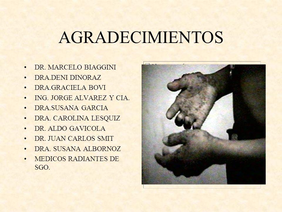 AGRADECIMIENTOS DR. MARCELO BIAGGINI DRA.DENI DINORAZ DRA.GRACIELA BOVI ING. JORGE ALVAREZ Y CIA. DRA.SUSANA GARCIA DRA. CAROLINA LESQUIZ DR. ALDO GAV