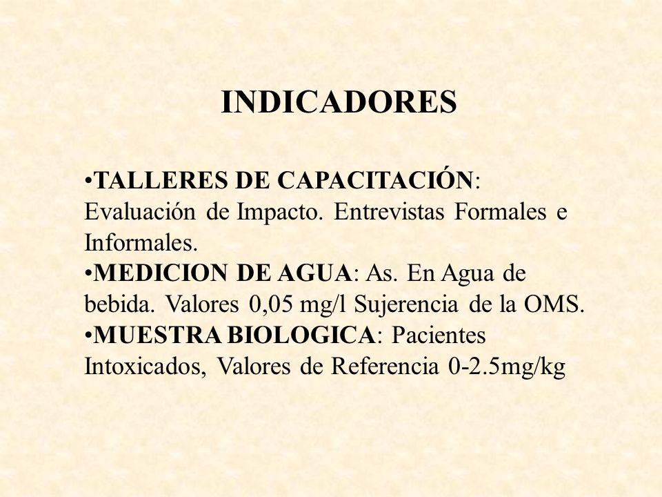 INDICADORES TALLERES DE CAPACITACIÓN: Evaluación de Impacto. Entrevistas Formales e Informales. MEDICION DE AGUA: As. En Agua de bebida. Valores 0,05
