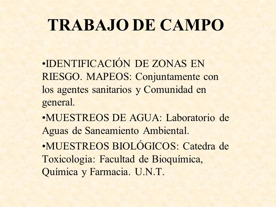TRABAJO DE CAMPO IDENTIFICACIÓN DE ZONAS EN RIESGO. MAPEOS: Conjuntamente con los agentes sanitarios y Comunidad en general. MUESTREOS DE AGUA: Labora