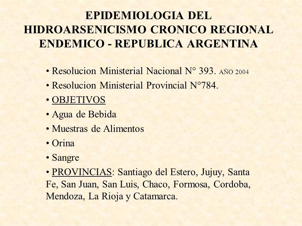 EPIDEMIOLOGIA DEL HIDROARSENICISMO CRONICO REGIONAL ENDEMICO - REPUBLICA ARGENTINA Resolucion Ministerial Nacional N° 393. AÑO 2004 Resolucion Ministe