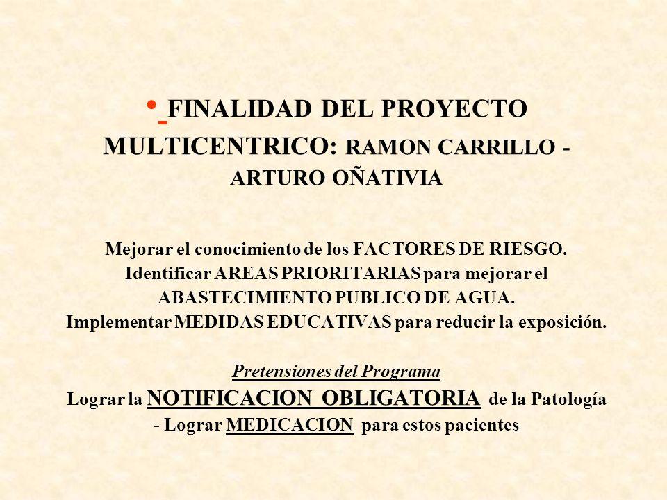 FINALIDAD DEL PROYECTO MULTICENTRICO: RAMON CARRILLO - ARTURO OÑATIVIA Mejorar el conocimiento de los FACTORES DE RIESGO. Identificar AREAS PRIORITARI