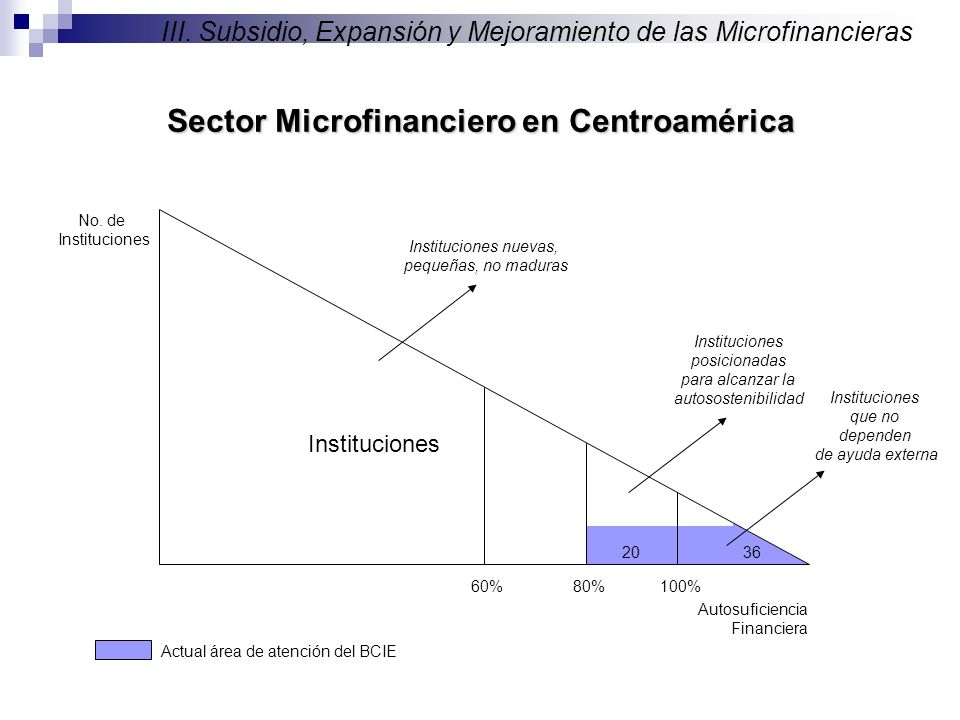 No. de Instituciones Autosuficiencia Financiera 100%80% Instituciones que no dependen de ayuda externa Instituciones posicionadas para alcanzar la aut