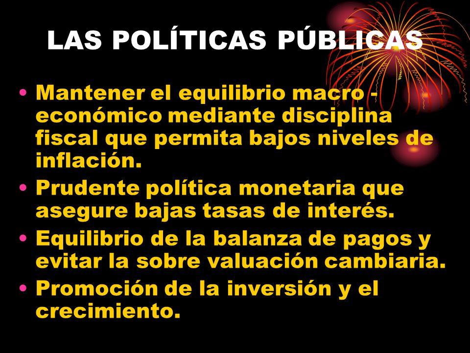LAS POLÍTICAS PÚBLICAS Mantener el equilibrio macro - económico mediante disciplina fiscal que permita bajos niveles de inflación. Prudente política m