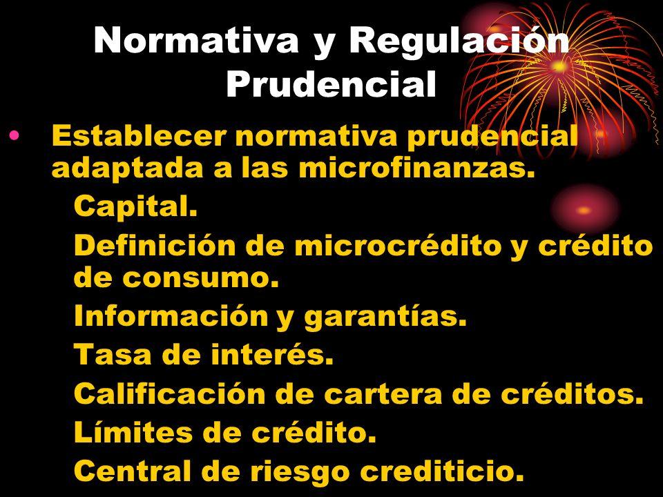 Normativa y Regulación Prudencial Establecer normativa prudencial adaptada a las microfinanzas. Capital. Definición de microcrédito y crédito de consu