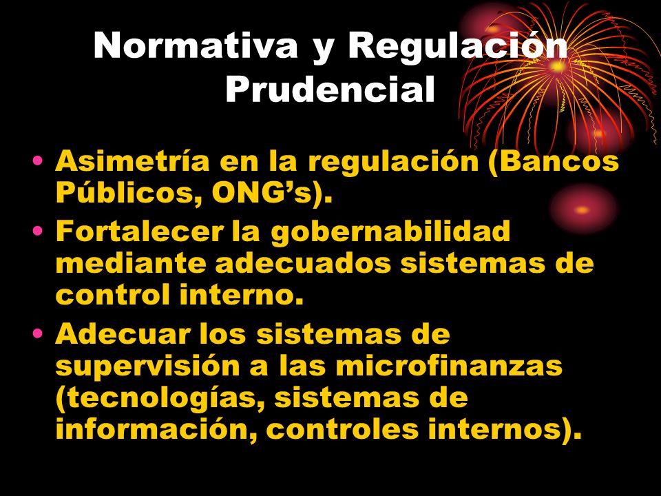 Normativa y Regulación Prudencial Asimetría en la regulación (Bancos Públicos, ONGs). Fortalecer la gobernabilidad mediante adecuados sistemas de cont