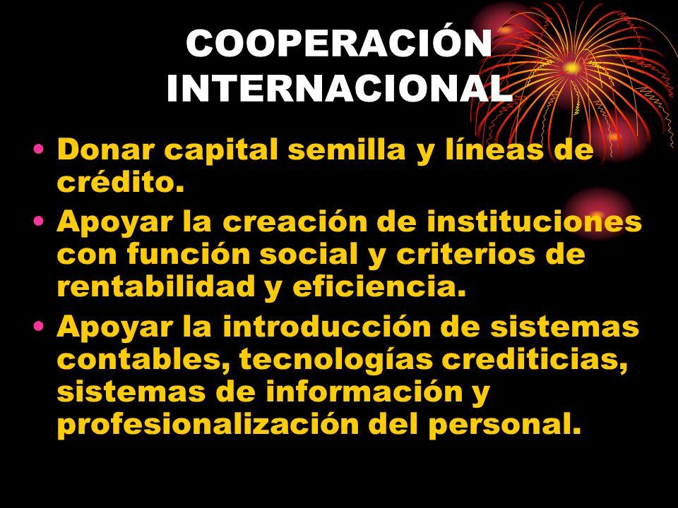 COOPERACIÓN INTERNACIONAL Donar capital semilla y líneas de crédito. Apoyar la creación de instituciones con función social y criterios de rentabilida