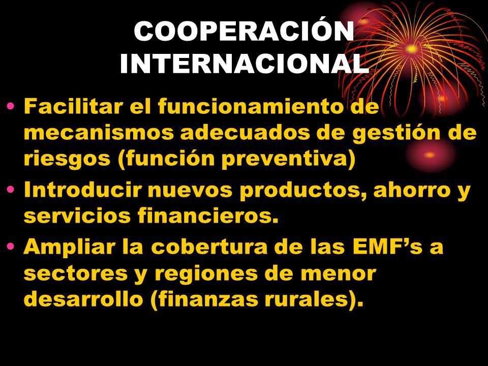 COOPERACIÓN INTERNACIONAL Facilitar el funcionamiento de mecanismos adecuados de gestión de riesgos (función preventiva) Introducir nuevos productos,