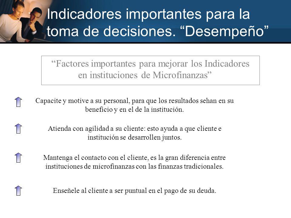 Factores importantes para mejorar los Indicadores en instituciones de Microfinanzas Capacite y motive a su personal, para que los resultados sehan en