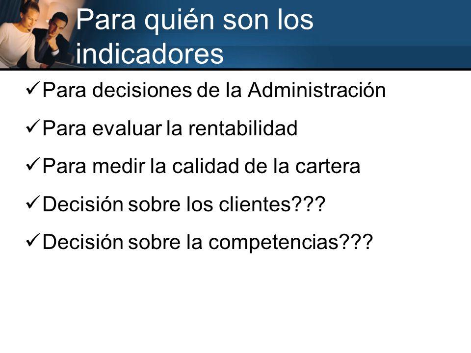 Para quién son los indicadores Para decisiones de la Administración Para evaluar la rentabilidad Para medir la calidad de la cartera Decisión sobre lo