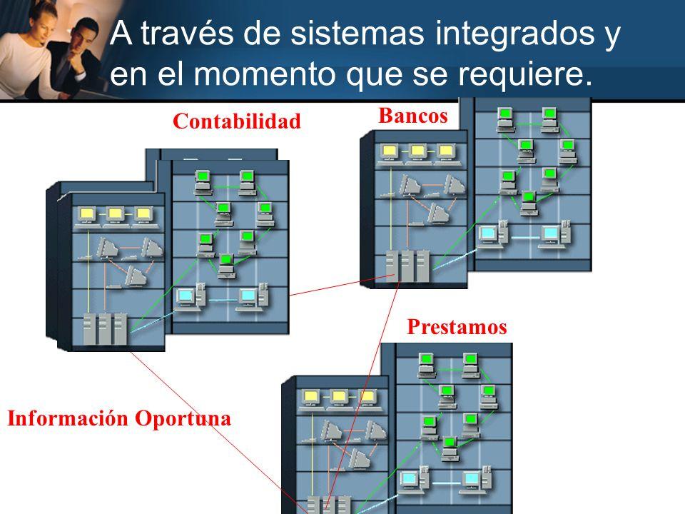 Contabilidad Bancos Prestamos Información Oportuna A través de sistemas integrados y en el momento que se requiere.