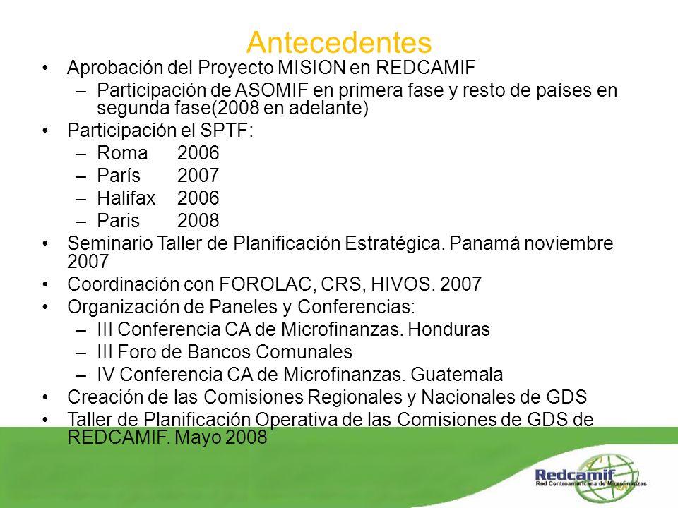 Antecedentes Aprobación del Proyecto MISION en REDCAMIF –Participación de ASOMIF en primera fase y resto de países en segunda fase(2008 en adelante) P