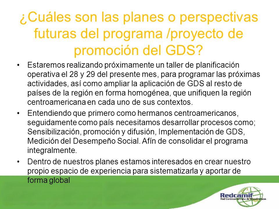 ¿Cuáles son las planes o perspectivas futuras del programa /proyecto de promoción del GDS? Estaremos realizando próximamente un taller de planificació