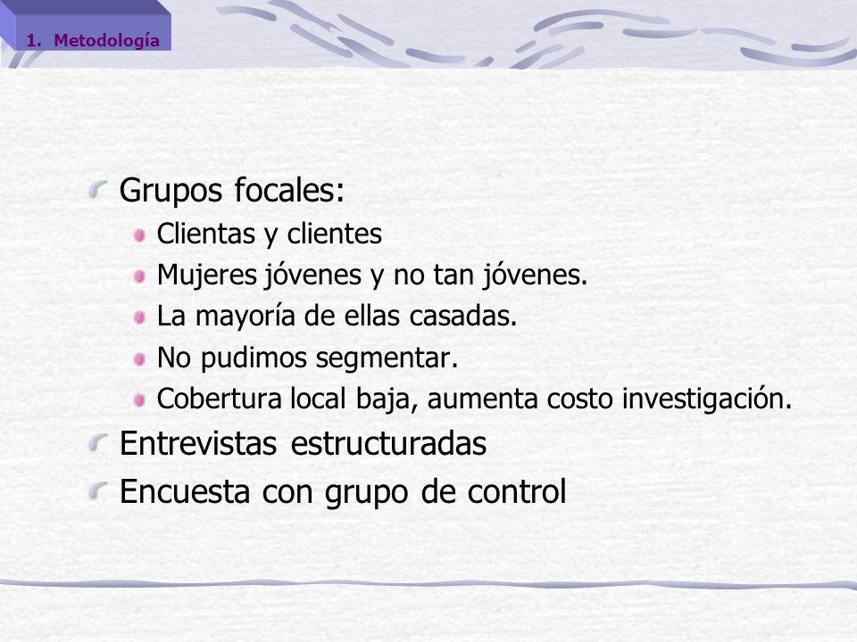 Grupos focales: Clientas y clientes Mujeres jóvenes y no tan jóvenes.