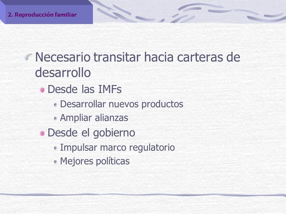 Necesario transitar hacia carteras de desarrollo Desde las IMFs Desarrollar nuevos productos Ampliar alianzas Desde el gobierno Impulsar marco regulatorio Mejores políticas 2.