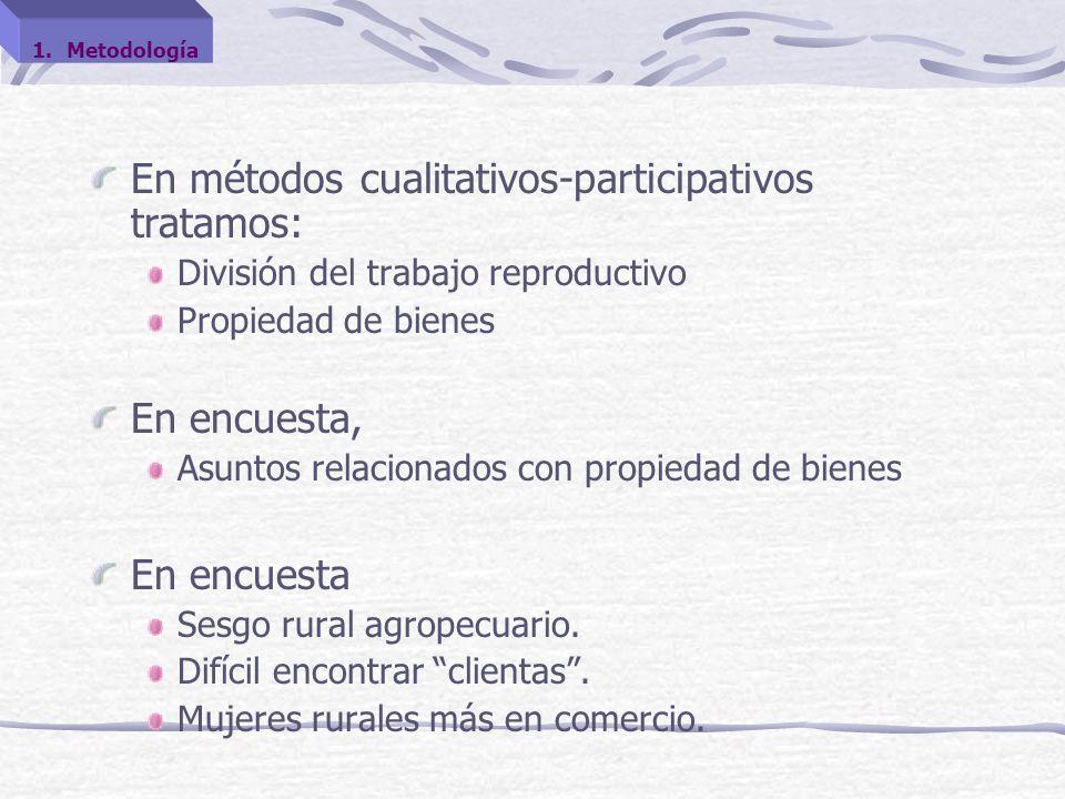 En métodos cualitativos-participativos tratamos: División del trabajo reproductivo Propiedad de bienes En encuesta, Asuntos relacionados con propiedad de bienes En encuesta Sesgo rural agropecuario.