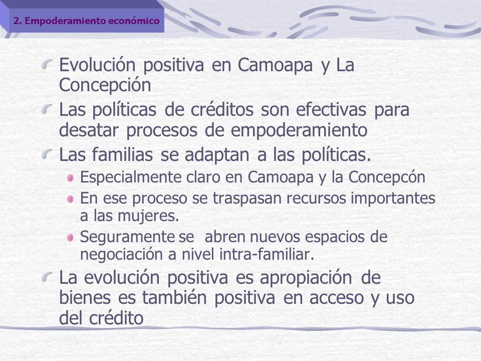 Evolución positiva en Camoapa y La Concepción Las políticas de créditos son efectivas para desatar procesos de empoderamiento Las familias se adaptan a las políticas.