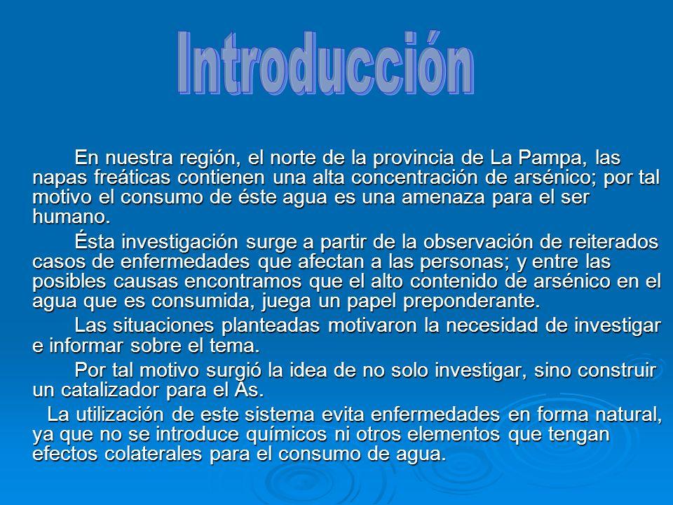 En nuestra región, el norte de la provincia de La Pampa, las napas freáticas contienen una alta concentración de arsénico; por tal motivo el consumo d