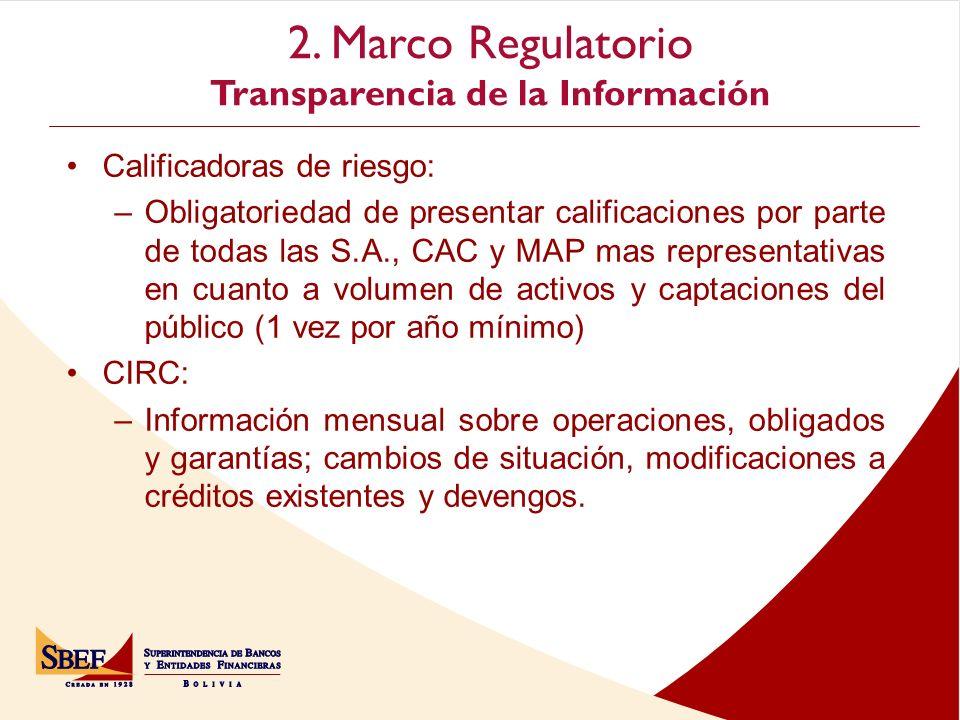 2. Marco Regulatorio Transparencia de la Información Cochabamba Calificadoras de riesgo: –Obligatoriedad de presentar calificaciones por parte de toda