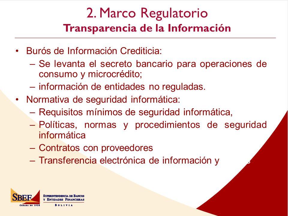 2. Marco Regulatorio Transparencia de la Información Cochabamba Burós de Información Crediticia: –Se levanta el secreto bancario para operaciones de c