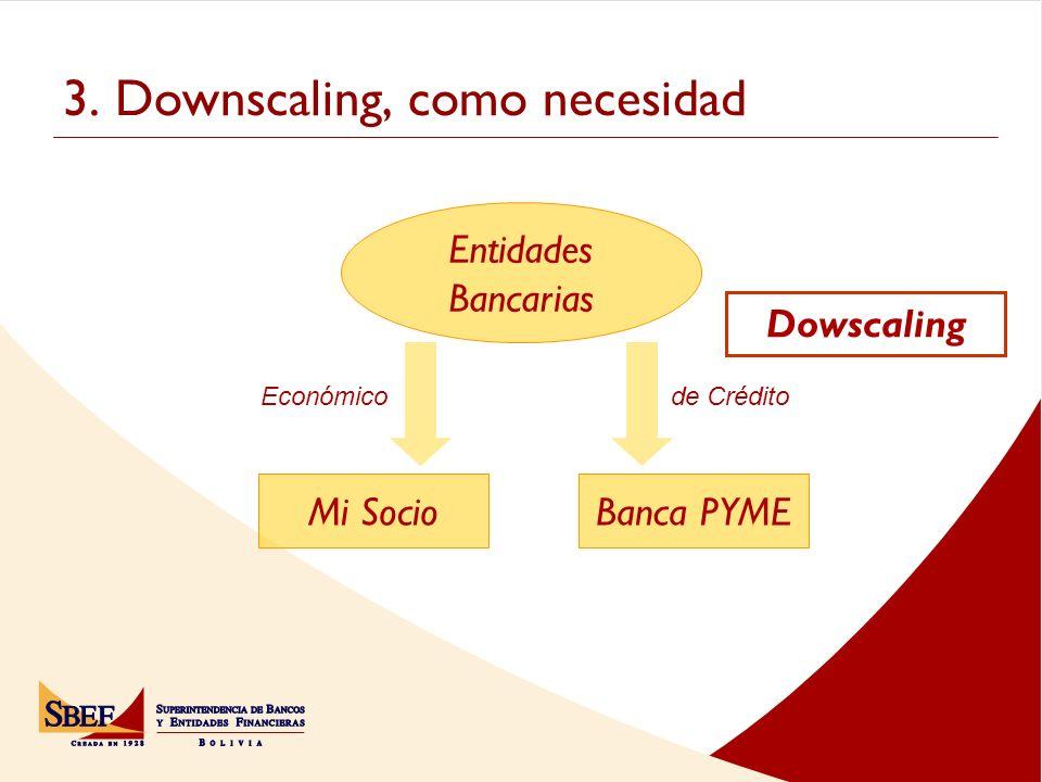 3. Downscaling, como necesidad Dowscaling Banca PYMEMi Socio Económico Entidades Bancarias de Crédito