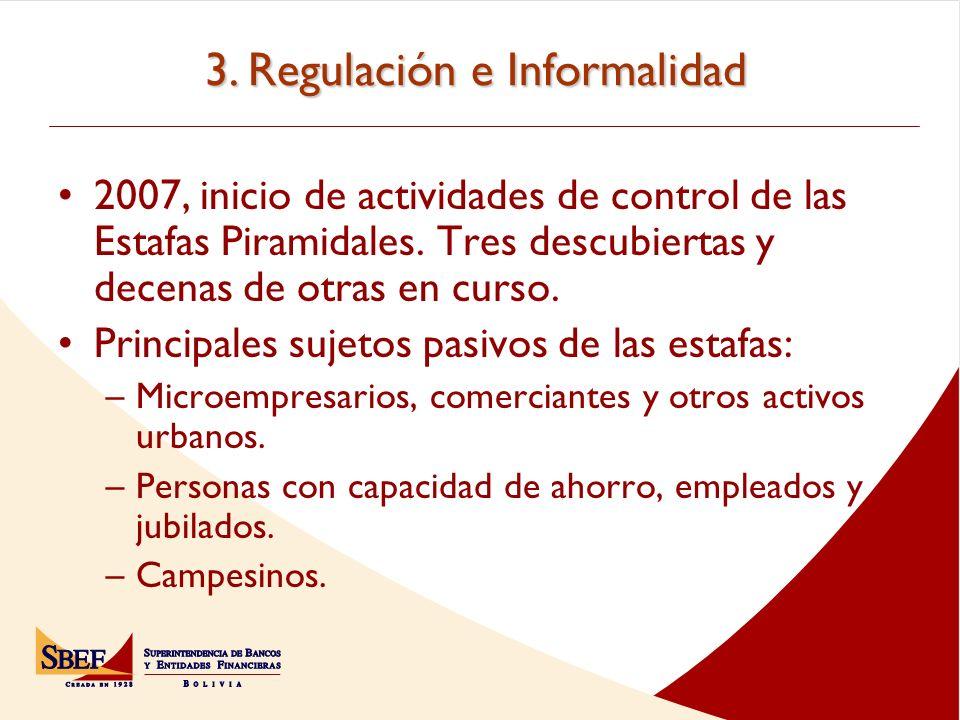 3.Regulación e Informalidad 2007, inicio de actividades de control de las Estafas Piramidales.