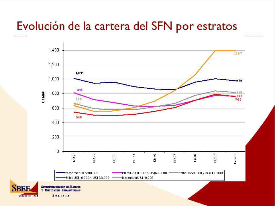 Evolución de la cartera del SFN por estratos