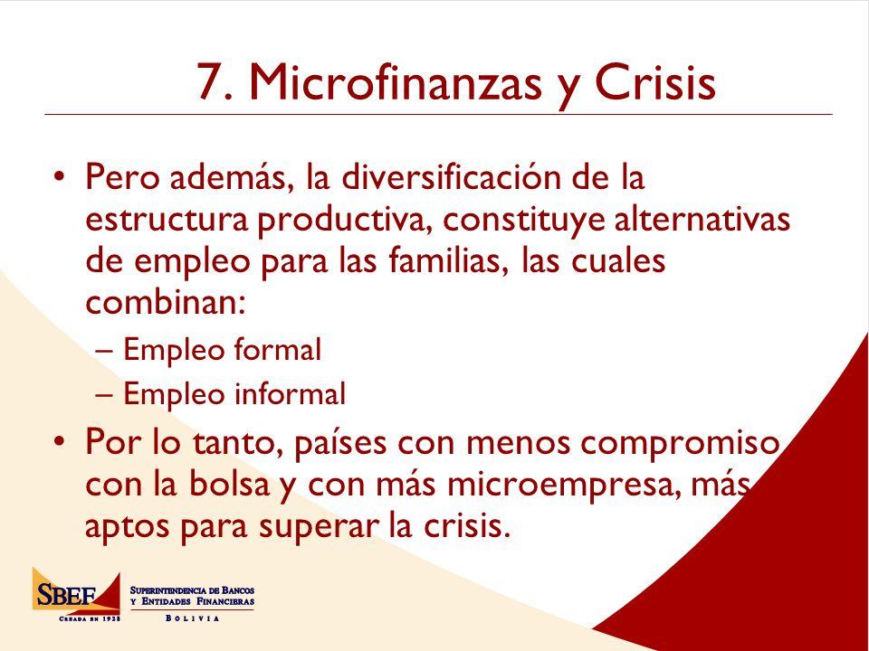 7. Microfinanzas y Crisis Pero además, la diversificación de la estructura productiva, constituye alternativas de empleo para las familias, las cuales