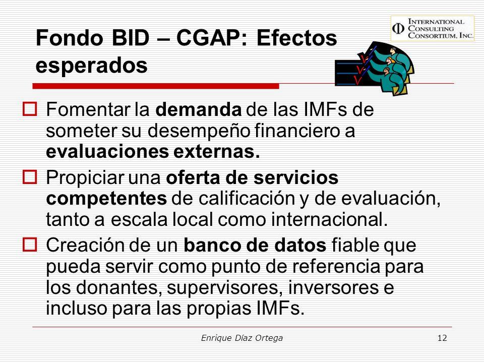 Enrique Díaz Ortega12 Fondo BID – CGAP: Efectos esperados Fomentar la demanda de las IMFs de someter su desempeño financiero a evaluaciones externas.