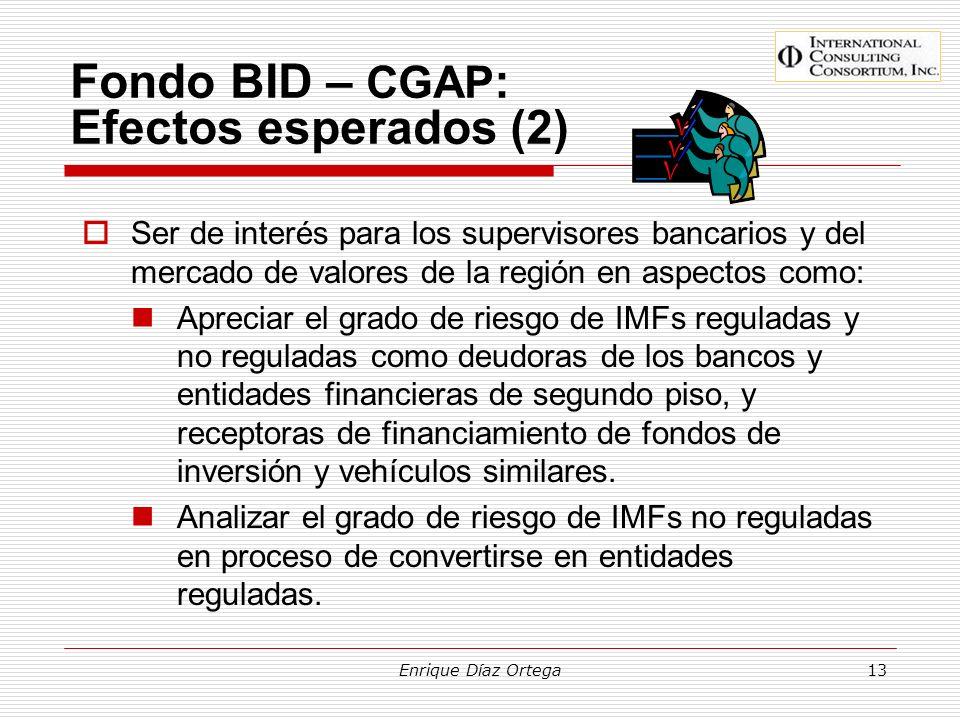 Enrique Díaz Ortega13 Fondo BID – CGAP : Efectos esperados (2) Ser de interés para los supervisores bancarios y del mercado de valores de la región en
