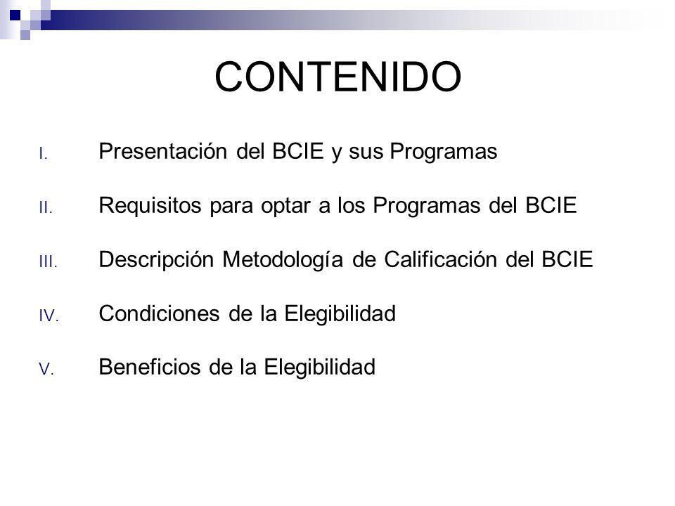CONTENIDO I. Presentación del BCIE y sus Programas II. Requisitos para optar a los Programas del BCIE III. Descripción Metodología de Calificación del
