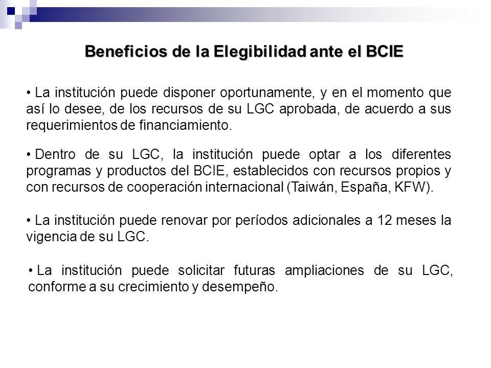 Beneficios de la Elegibilidad ante el BCIE Dentro de su LGC, la institución puede optar a los diferentes programas y productos del BCIE, establecidos