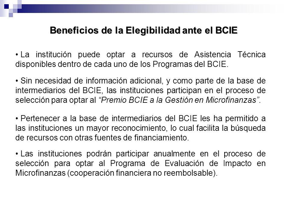 Beneficios de la Elegibilidad ante el BCIE Sin necesidad de información adicional, y como parte de la base de intermediarios del BCIE, las institucion