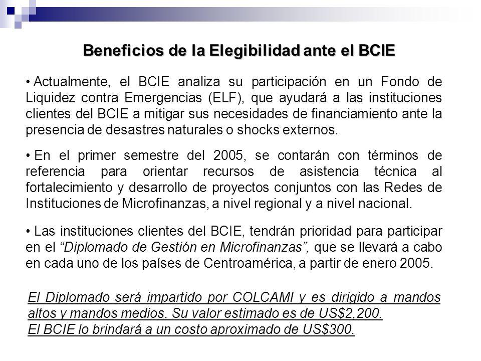 Beneficios de la Elegibilidad ante el BCIE Actualmente, el BCIE analiza su participación en un Fondo de Liquidez contra Emergencias (ELF), que ayudará
