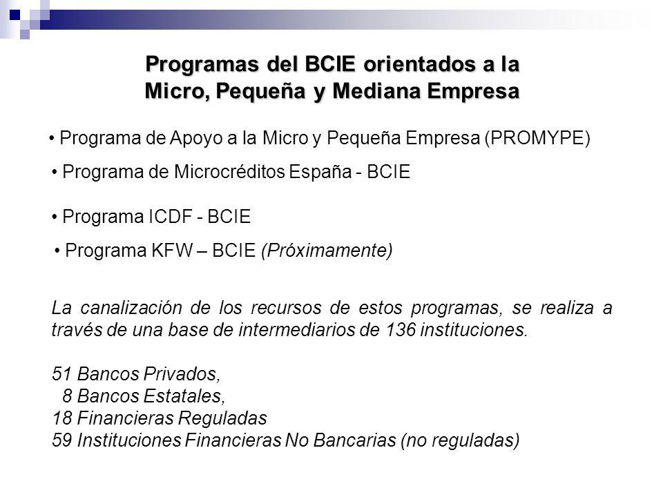 Programas del BCIE orientados a la Micro, Pequeña y Mediana Empresa Programa de Apoyo a la Micro y Pequeña Empresa (PROMYPE) Programa de Microcréditos