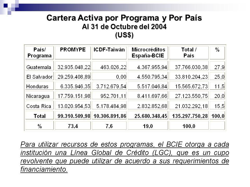 Cartera Activa por Programa y Por País Al 31 de Octubre del 2004 (US$) Para utilizar recursos de estos programas, el BCIE otorga a cada institución un