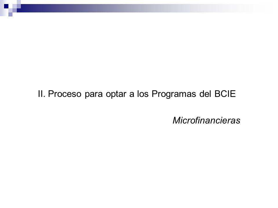 II. Proceso para optar a los Programas del BCIE Microfinancieras