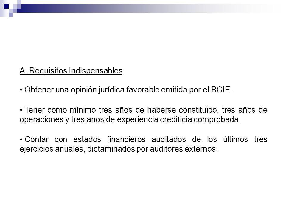 Obtener una opinión jurídica favorable emitida por el BCIE. Tener como mínimo tres años de haberse constituido, tres años de operaciones y tres años d