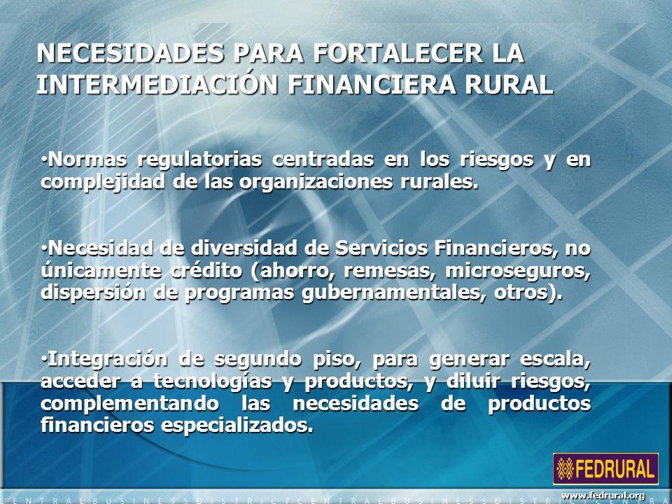 NECESIDADES PARA FORTALECER LA INTERMEDIACIÓN FINANCIERA RURAL Normas regulatorias centradas en los riesgos y en complejidad de las organizaciones rurales.