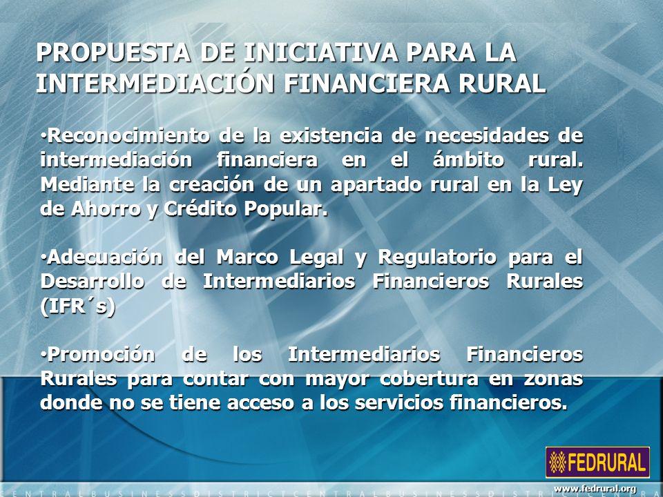 PROPUESTA DE INICIATIVA PARA LA INTERMEDIACIÓN FINANCIERA RURAL Reconocimiento de la existencia de necesidades de intermediación financiera en el ámbito rural.