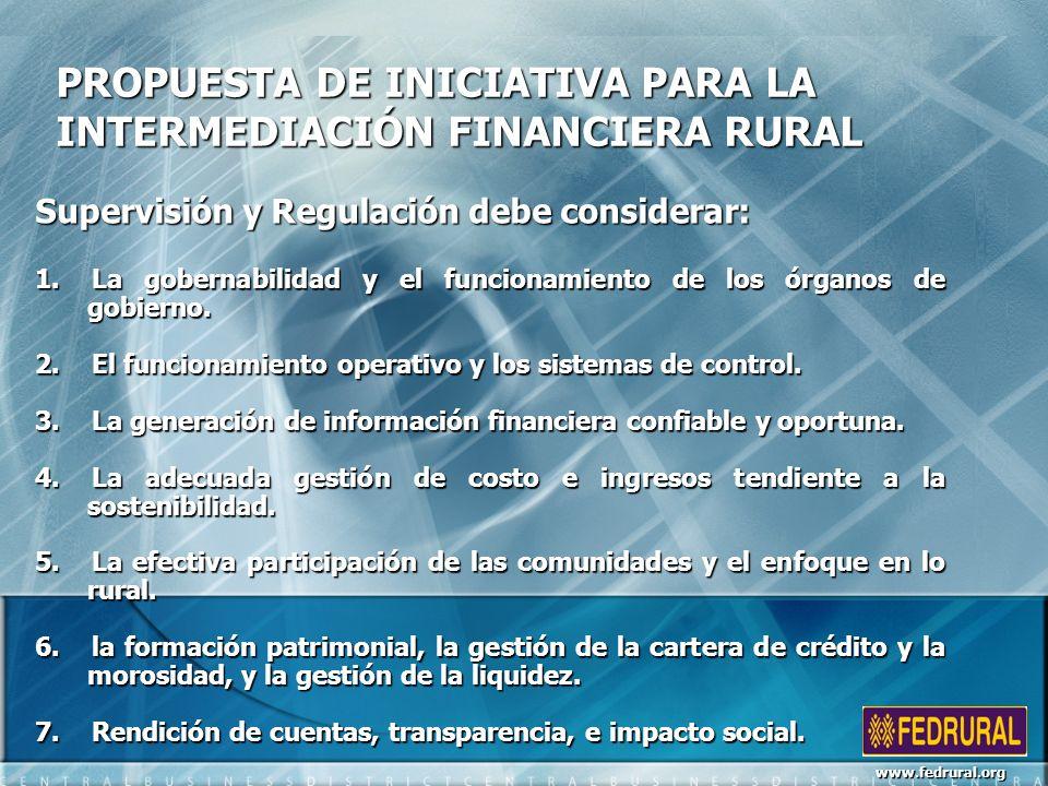 PROPUESTA DE INICIATIVA PARA LA INTERMEDIACIÓN FINANCIERA RURAL Supervisión y Regulación debe considerar: 1.La gobernabilidad y el funcionamiento de los órganos de gobierno.