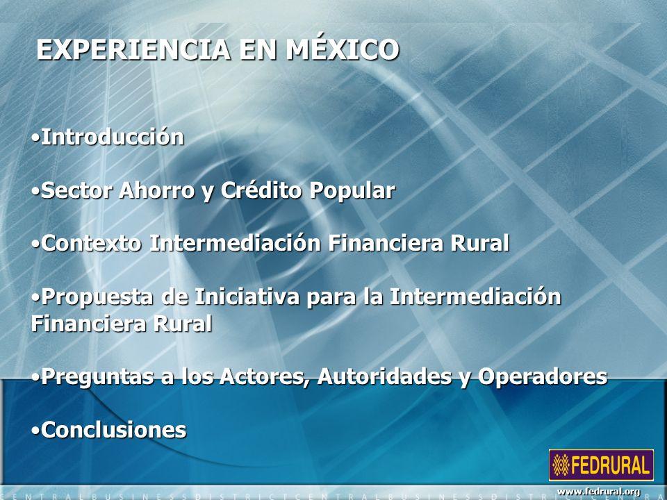 EXPERIENCIA EN MÉXICO IntroducciónIntroducción Sector Ahorro y Crédito PopularSector Ahorro y Crédito Popular Contexto Intermediación Financiera RuralContexto Intermediación Financiera Rural Propuesta de Iniciativa para la Intermediación Financiera RuralPropuesta de Iniciativa para la Intermediación Financiera Rural Preguntas a los Actores, Autoridades y OperadoresPreguntas a los Actores, Autoridades y Operadores ConclusionesConclusiones www.fedrural.org