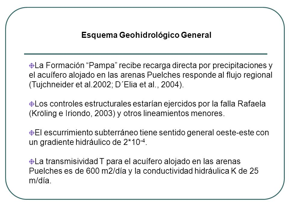 La Formación Pampa recibe recarga directa por precipitaciones y el acuífero alojado en las arenas Puelches responde al flujo regional (Tujchneider et