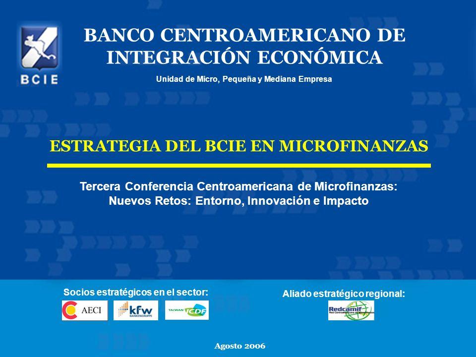 1 BANCO CENTROAMERICANO DE INTEGRACIÓN ECONÓMICA Unidad de Micro, Pequeña y Mediana Empresa Agosto 2006 ESTRATEGIA DEL BCIE EN MICROFINANZAS Tercera C