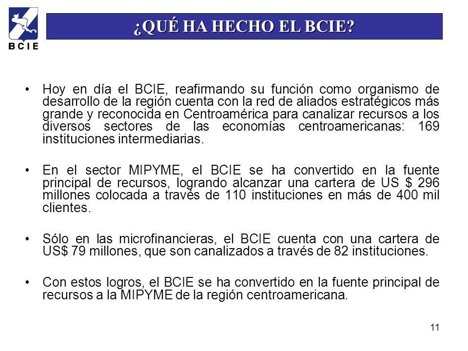 11 Hoy en día el BCIE, reafirmando su función como organismo de desarrollo de la región cuenta con la red de aliados estratégicos más grande y reconoc