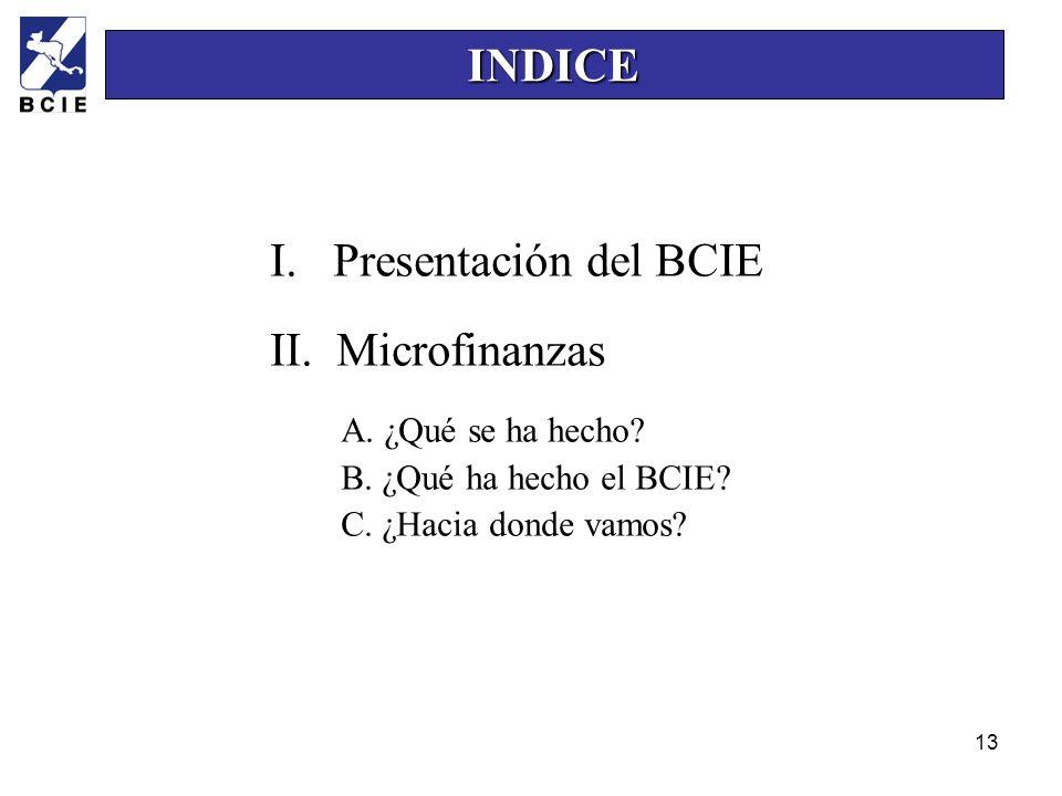 13 I. Presentación del BCIE II. Microfinanzas A. ¿Qué se ha hecho? B. ¿Qué ha hecho el BCIE? C. ¿Hacia donde vamos? INDICE