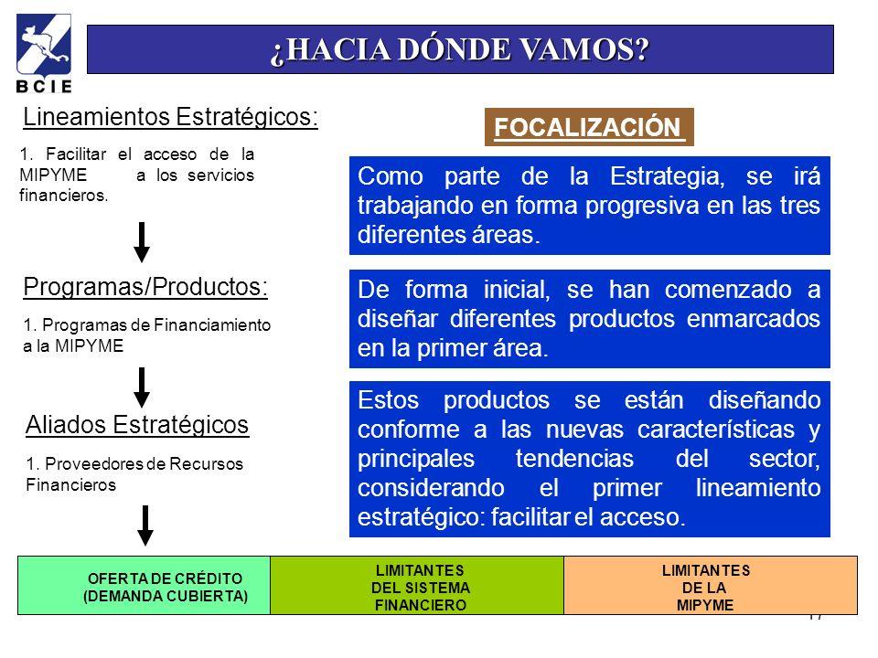 17 1. Facilitar el acceso de la MIPYME a los servicios financieros. Programas/Productos: 1. Programas de Financiamiento a la MIPYME LIMITANTES DE LA M