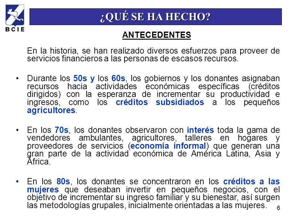 6 En la historia, se han realizado diversos esfuerzos para proveer de servicios financieros a las personas de escasos recursos. Durante los 50s y los