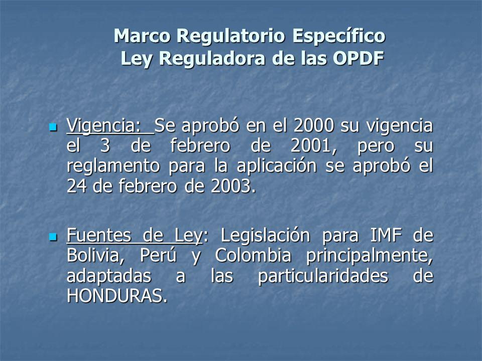 Marco Regulatorio Específico Ley Reguladora de las OPDF Vigencia: Se aprobó en el 2000 su vigencia el 3 de febrero de 2001, pero su reglamento para la