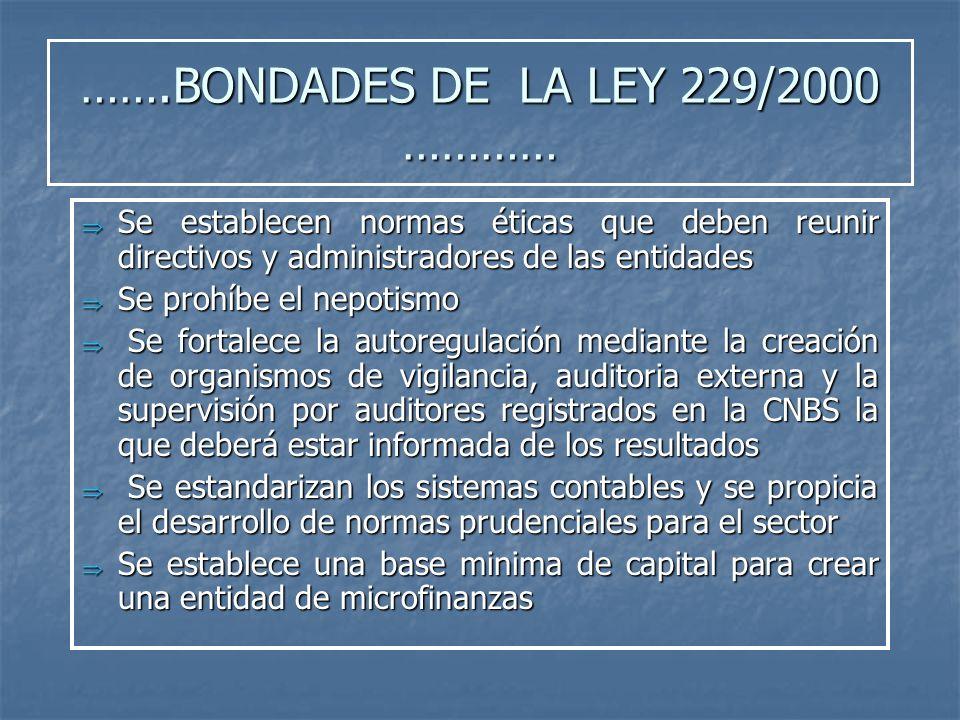 …….BONDADES DE LA LEY 229/2000 ………… Se establecen normas éticas que deben reunir directivos y administradores de las entidades Se establecen normas ét